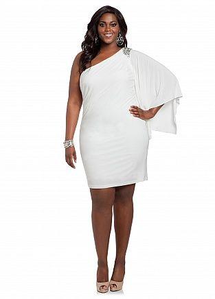 Ashley Stewart: Web Exclusive: Beaded One-shoulder Dress