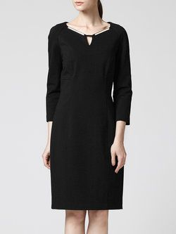 Crew Neck 3/4 Sleeve Simple Plain Midi Dress