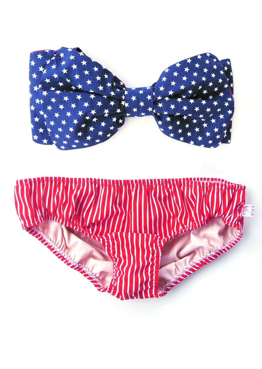 89c10db18396 All Cotton Vintage Bow Bikini Style Bandeau Sunsuit. DiVa Halter ...