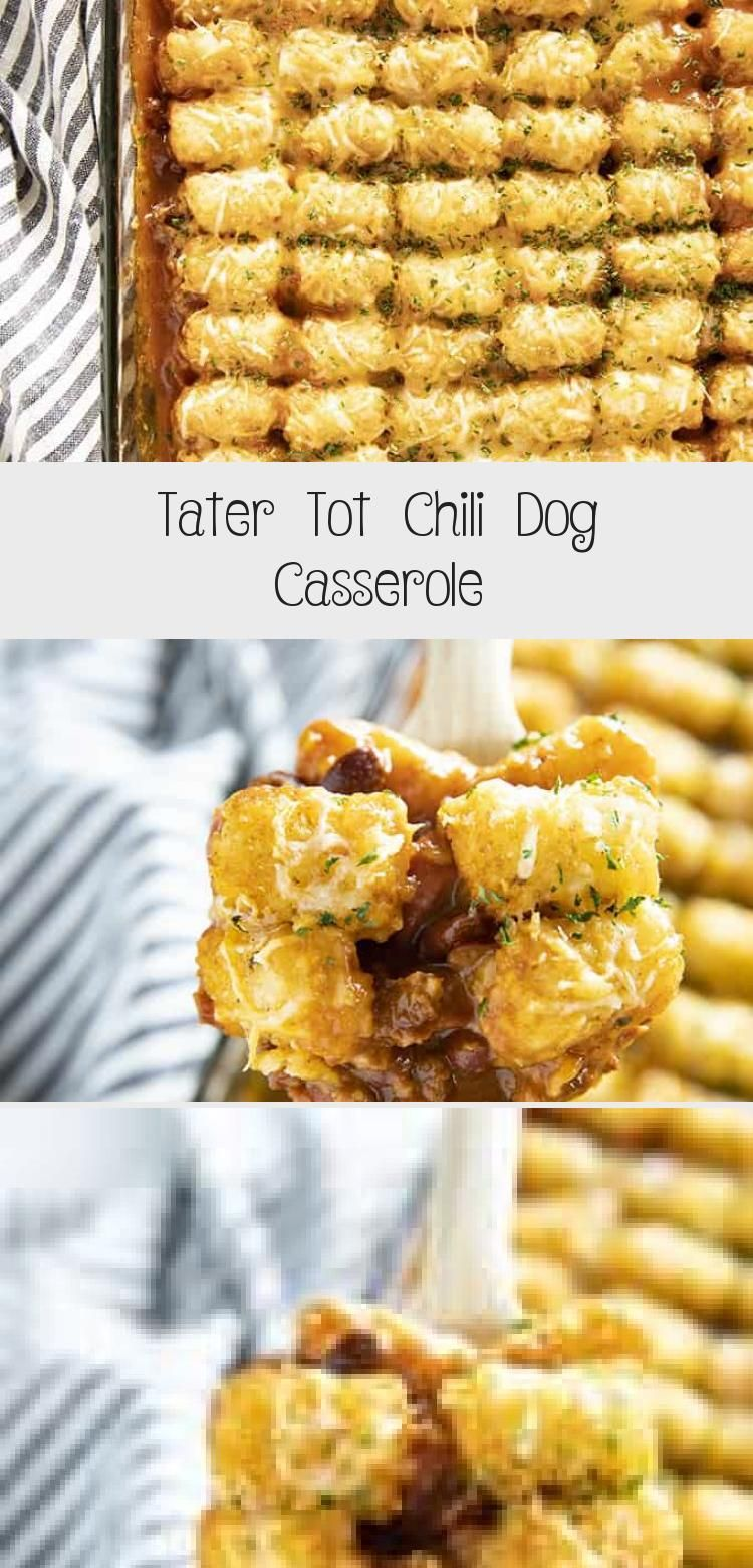 Tater Tot Chili Dog Casserole is a cheesy, savory, and fun new twist on tater to...