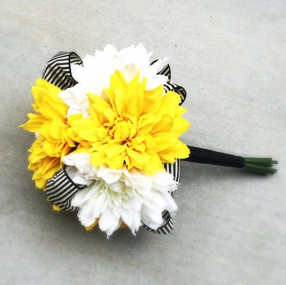 White and Yellow Wedding Bouquet with Silk Dahlias and Black & White Striped Ribbon #fantasticweddingbouquets