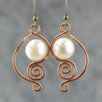 White pearl earrings female brass handmade earring fashion unique diy copper wire handmade jewelry