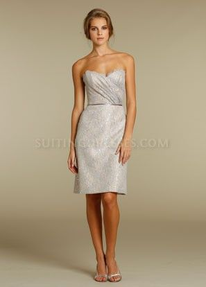 Strapless Lace Sheath Dress, Short Sweetheart Bridesmaid Dresses   $128.00