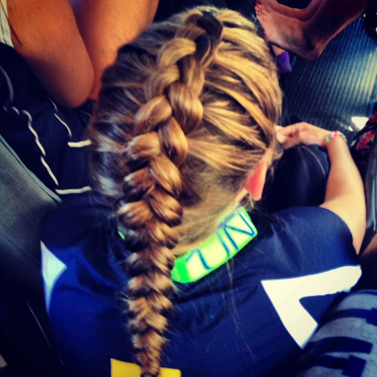 a good hairstyle for when you gals are playing sports; keeps