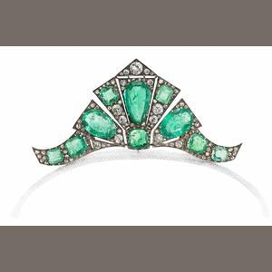 An art deco emerald and diamond tiara/brooch/double-clip combination, circa 1935.
