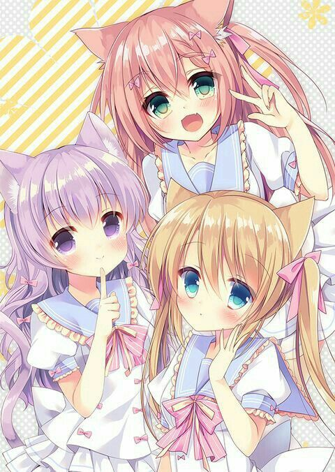Anime Girls Neko Cat Ears Pink Purple Hair Blonde Green