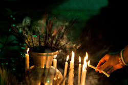 candles and incense
