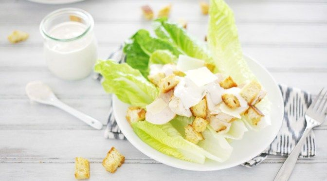 Chicken Caesar Salad | BourbonAndHoney.com