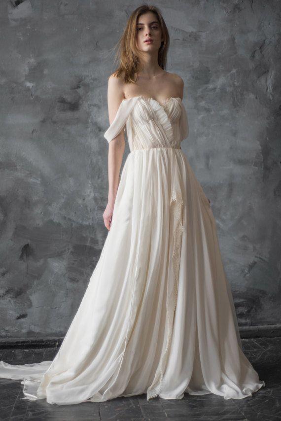Off-shoulder wedding dress // Aura / Silk wedding gown, ivory bridal ...