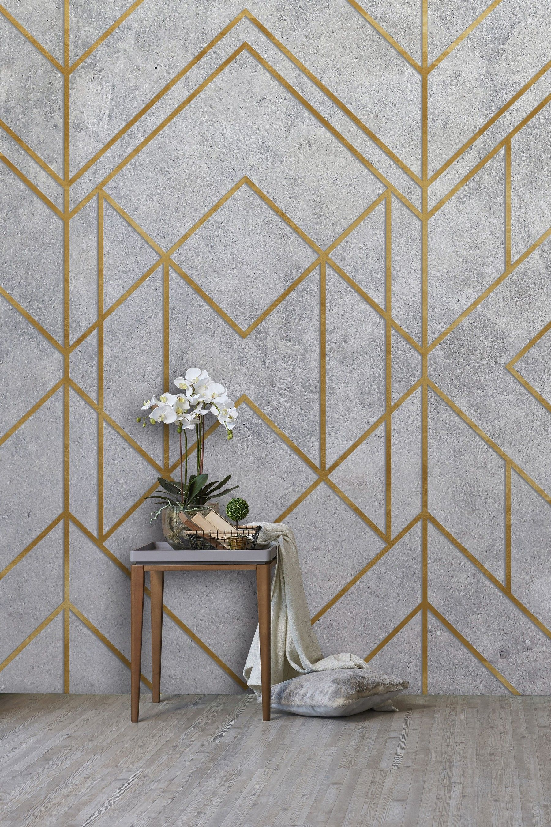Eighty Two Concrete Geo Wall Mural Grey in 2020 Wall