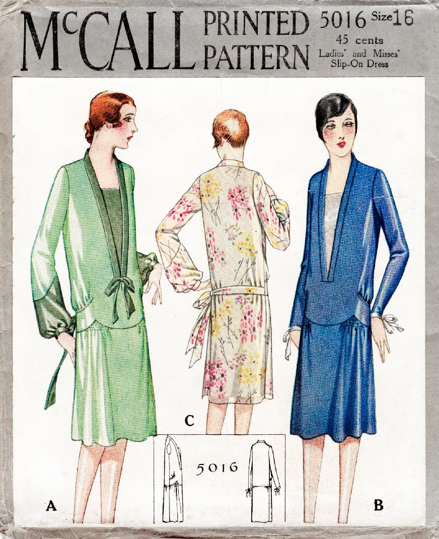 Mccall 5016 1927 1920s Fler Dress Sewing Pattern