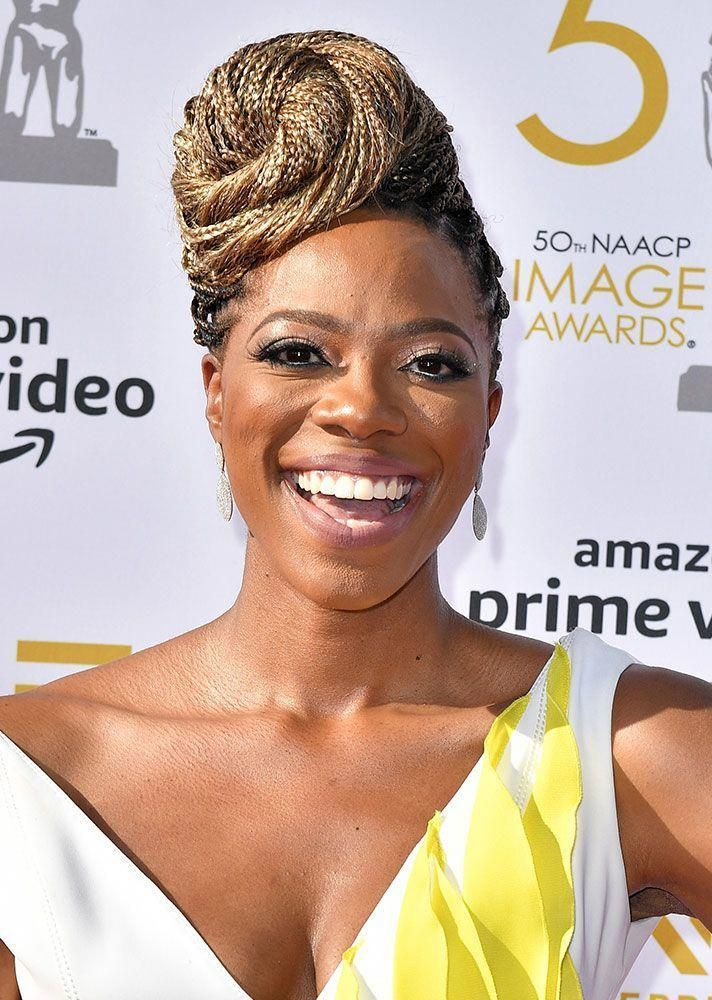 STYLECASTER | box braid hairstyles | corn rows | small box braids | long box braids | box braids | yvonne orji | 19 Standout, Celeb Approved Ways to Style Your Box Braids This Summer #updosforboxbraids # Braids afro corn rows