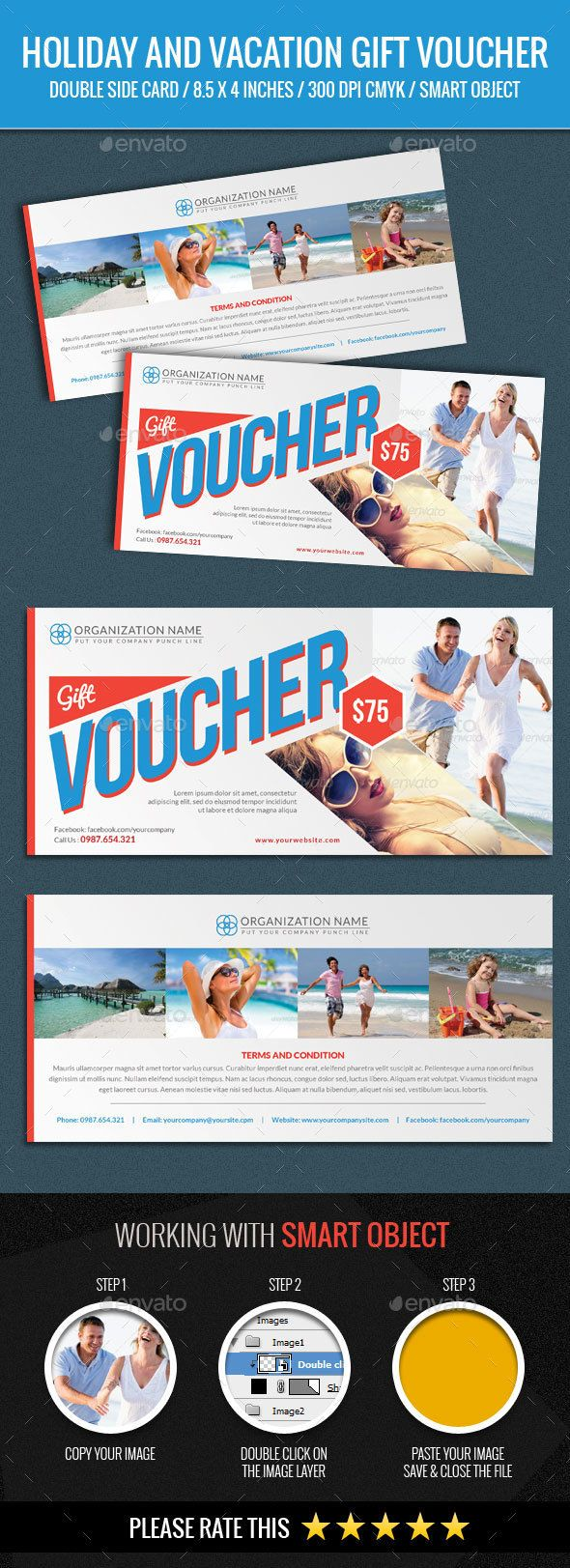 holiday and vacation gift voucher template psd design download