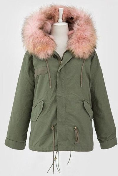 f3fc82261e6 Light Pink Fox Fur Trim Hooded Jacket | fashion | Pink fur jacket ...