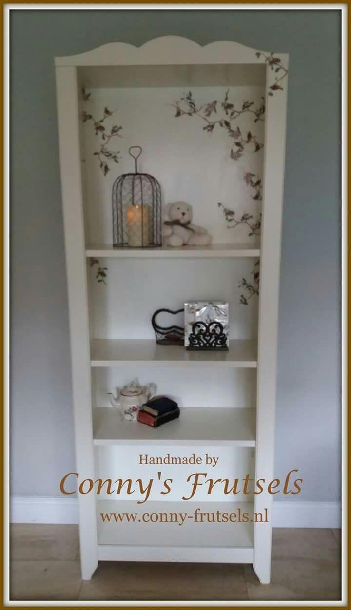 Boekenkast met servet decoratie / bookmakers decoupage napkins ...