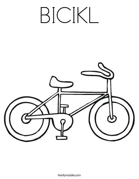 Bicikl Coloring Page Twisty Noodle Bicycle Safety Bicycle
