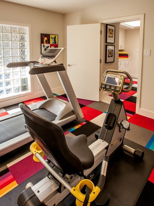 Small Home Gym Ideas Part - 18: Colorful Flooring Brings The Small Home Gym Alive