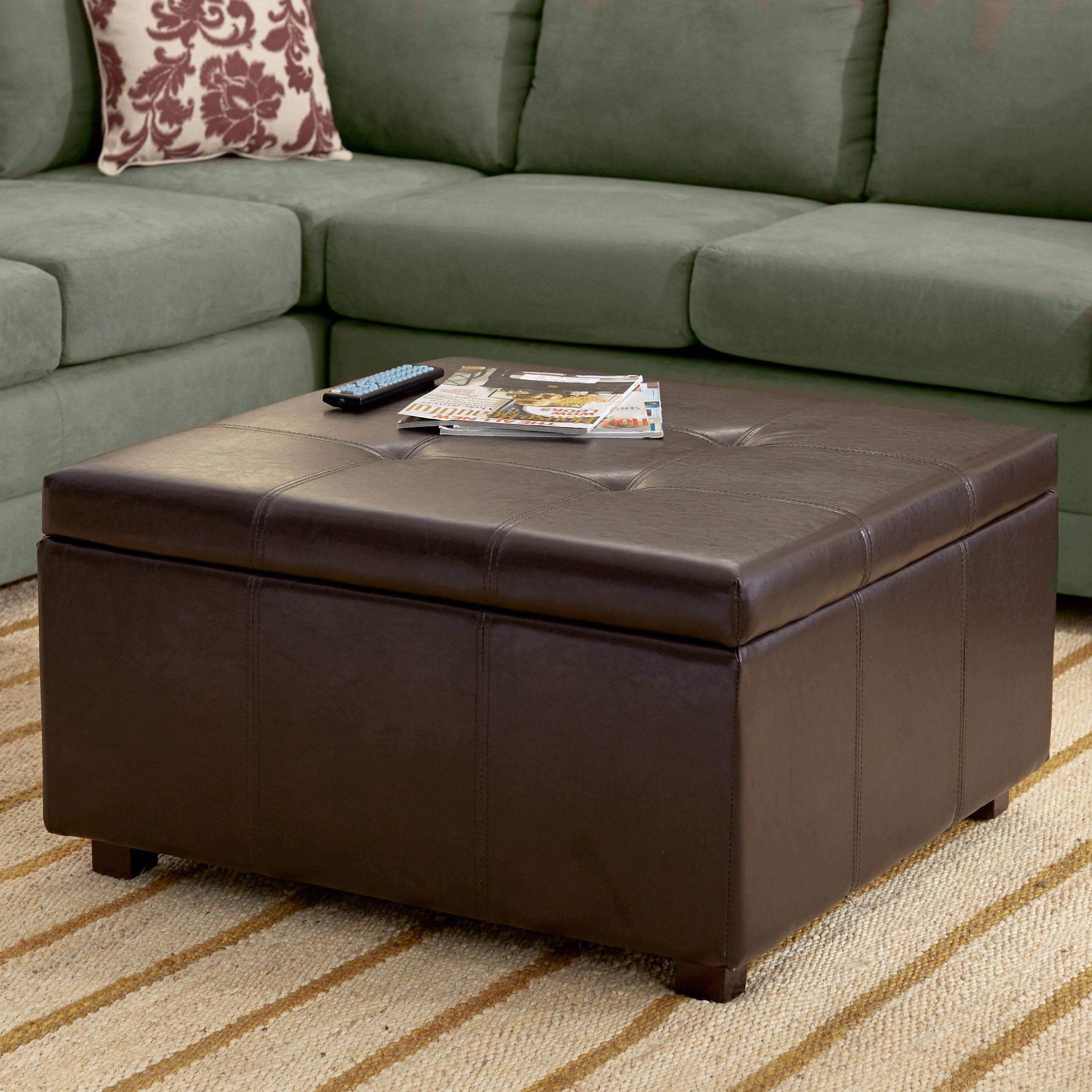 Large Leather Storage Ottoman Coffee Table Download Ottoman Nice Brown Leather Square Storage [ 2523 x 2523 Pixel ]