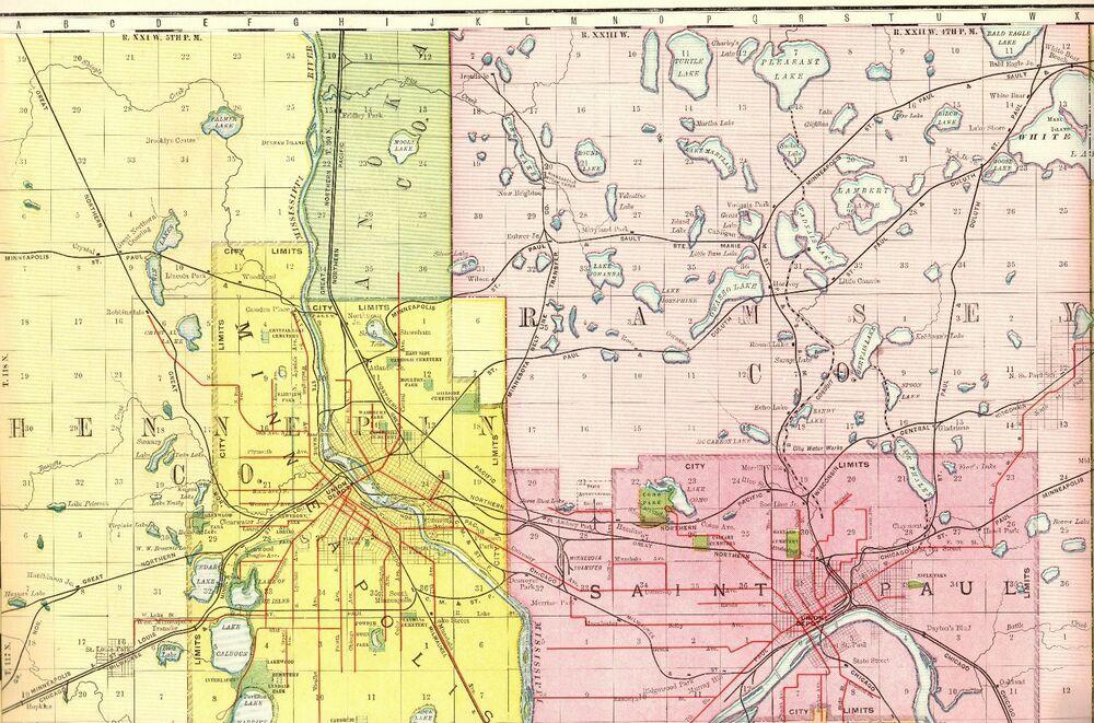 1894 Antique St Paul & Minneapolis Map Rare Poster Print ...
