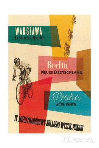 Pyöräkilpailu, Varsova, Berliini, Praha Giclee-vedos AllPosters.fi-sivustossa