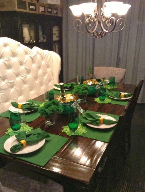 st. patrick\'s day table setting decoration ideas leprechaun hat ...