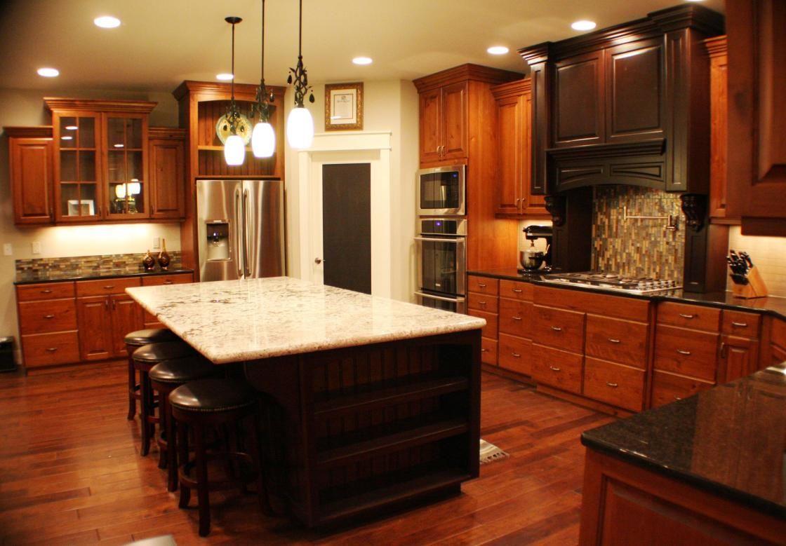 L : Best Cherry Stain Wood Kitchen Cabinet And Dark Espresso Dark Brown  Base Kitchen Island