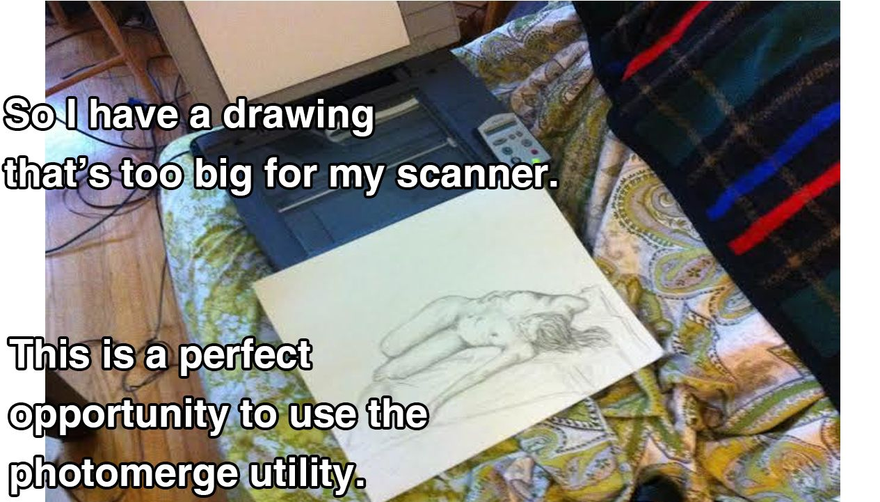 Great Photoshop tip for when you want to scan a drawing larger than your scanning bed.