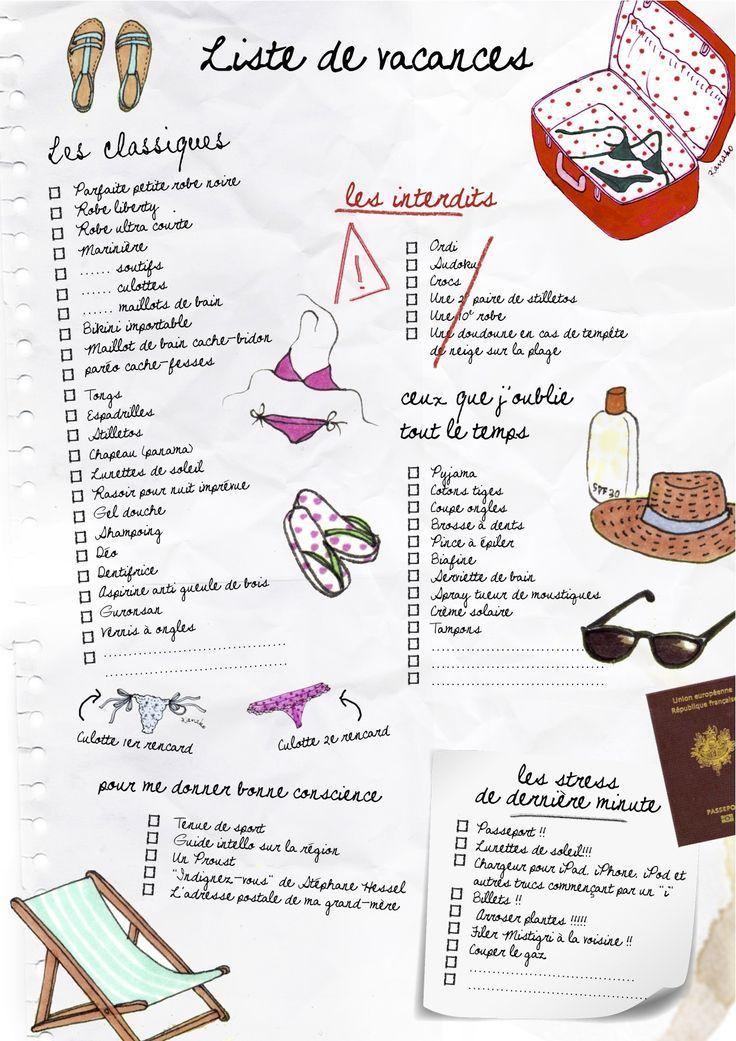 Tics En Fle Faire Une Liste De Vacances Avec Images Liste