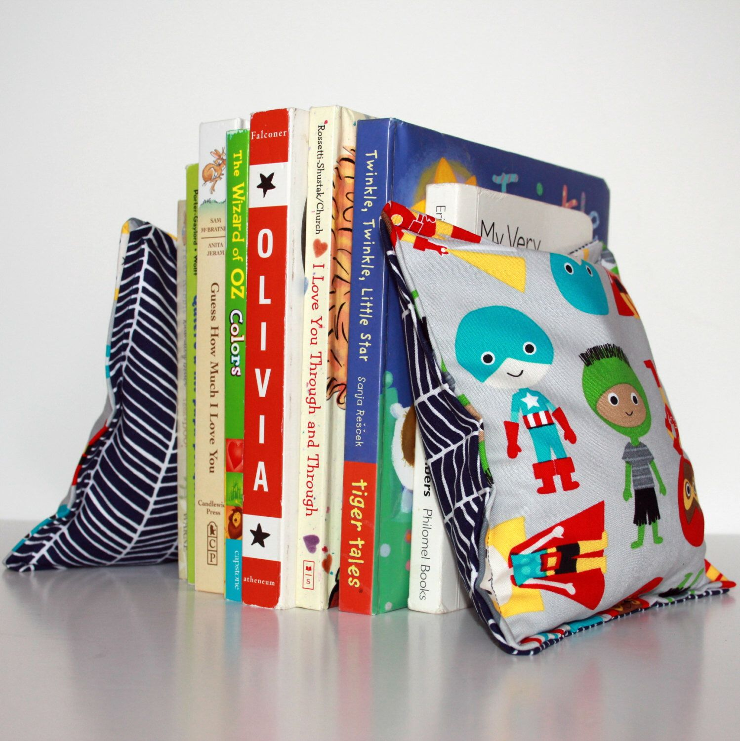 Superhero Nursery Kid S Bookends Child Safe Fabric Bookends Reversible Colorful Nursery And Children S De Kids Bookends Superhero Nursery Modern Bean Bags