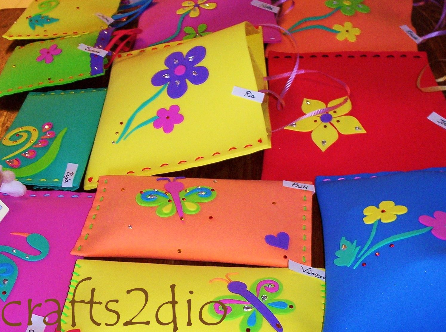 Colourful Goody Bags Pouches Made Of Foam Sheets Great As Return Gifts For Kids Birthday Parties