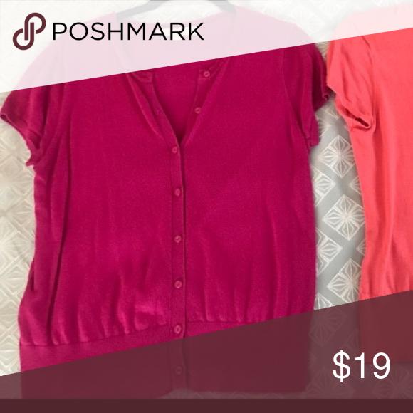 Fuchsia Pink Short Sleeve Loft Cardigan Sweater M