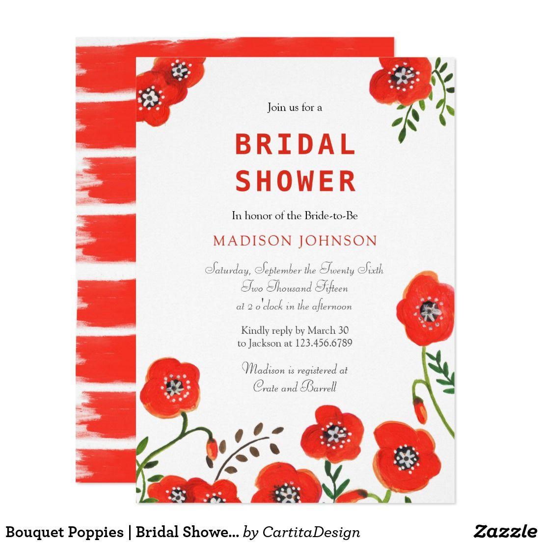 Bouquet Poppies | Bridal Shower | Invitation Card Cartita design ...