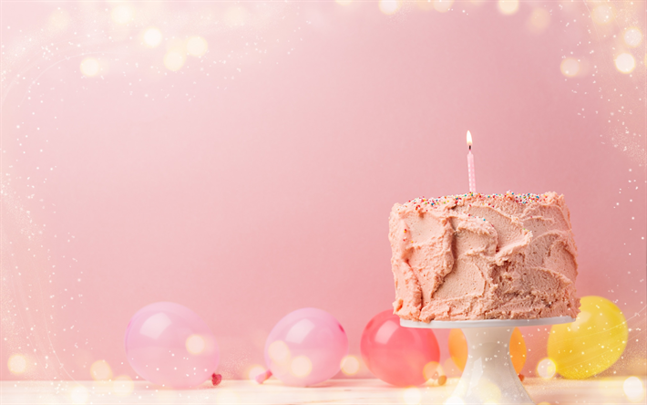 Herunterladen Hintergrundbild Happy Birthday Rosa Geburtstag Kuchen