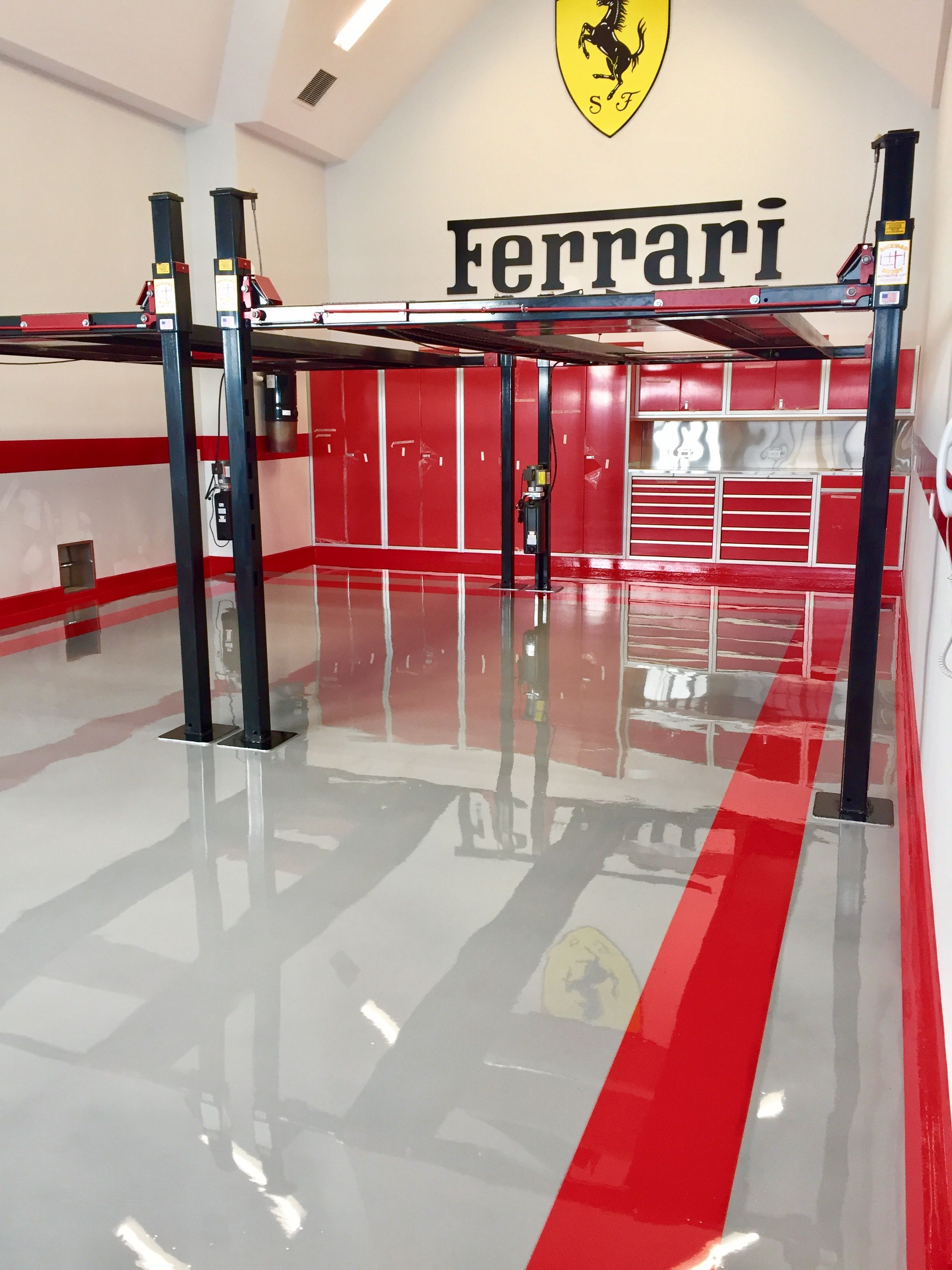 Ferrari Epoxy Floor Private Home Garage Custom