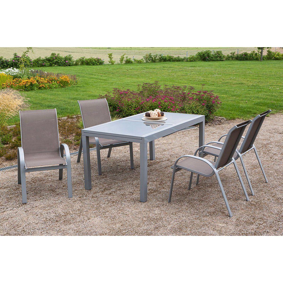 Gartenmöbel-Set Amalfi 5-tlg. Taupe inkl. Tisch 160/220 cm x 90 cm ...