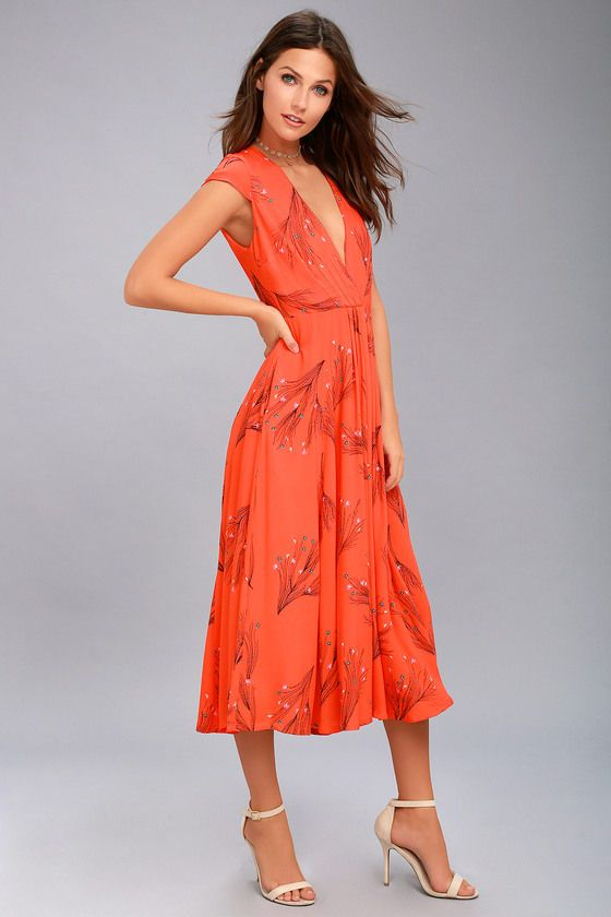 8d35e094475 Be the sweetest girl in the world in the Free People Retro Coral Orange Floral  Print Midi Dress! Dainty black