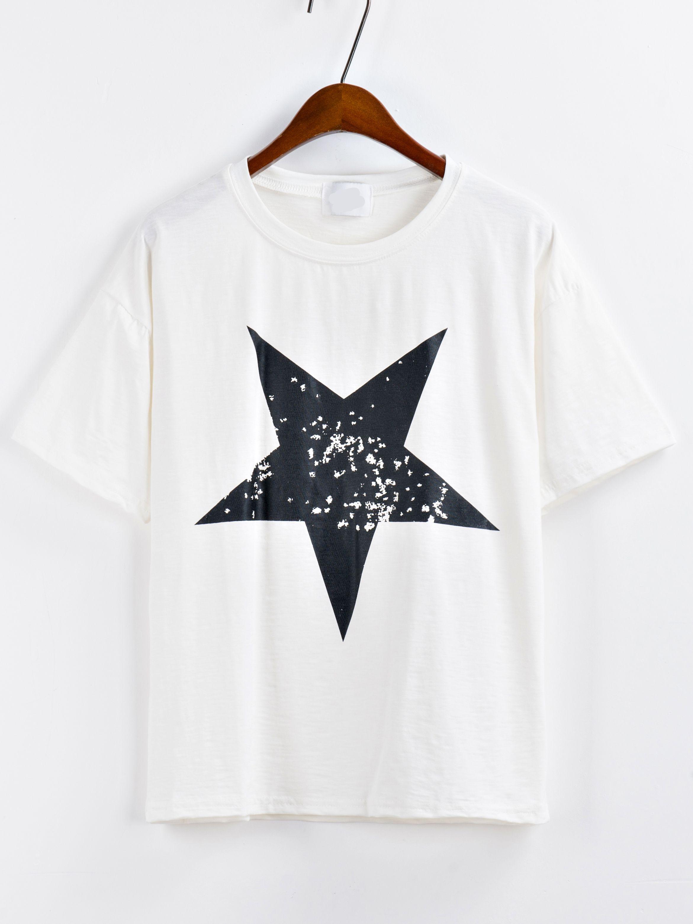 8ebcf23e15 Shop Star Print White T-shirt online. SheIn offers Star Print White T-shirt  & more to fit your fashionable needs.