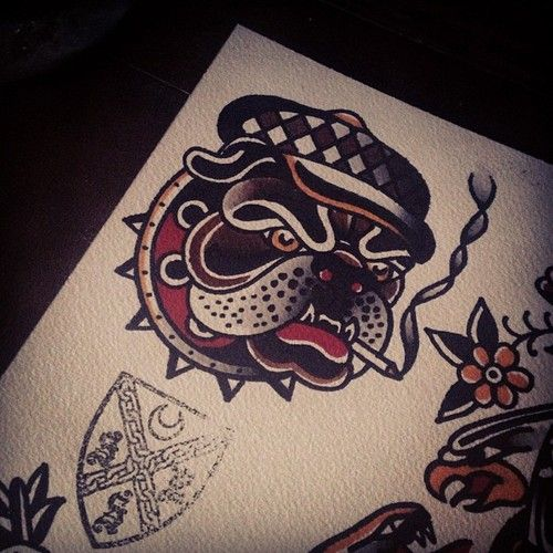 bulldog flash tattoo pinterest tattoo tatting and american traditional. Black Bedroom Furniture Sets. Home Design Ideas