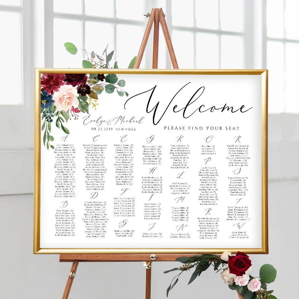 FULLY Editable Seating Chart Alphabetical Wedding Seating
