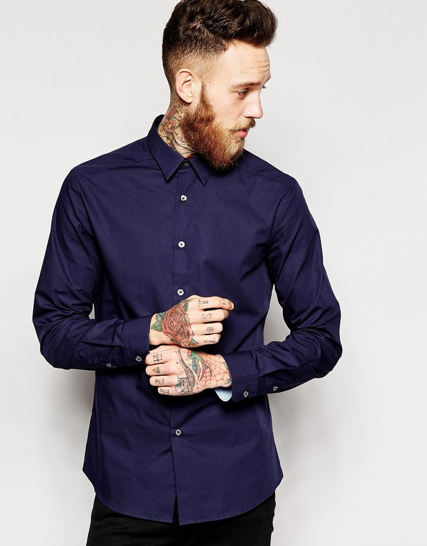 "Chemise par PS By Paul Smith Coton net Col en pointe Patte de boutonnage Coupe slim près du corps Lavage en machine 100% coton Le mannequin porte l'article en taille Medium et mesure 191 cm (6'3"")"