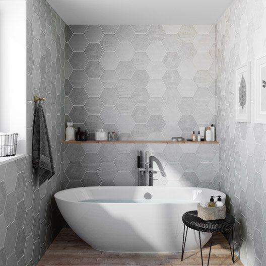 Carrelage hexagonal 33 95 m2 sol et mur calcaire street - Enlever calcaire carrelage salle de bain ...