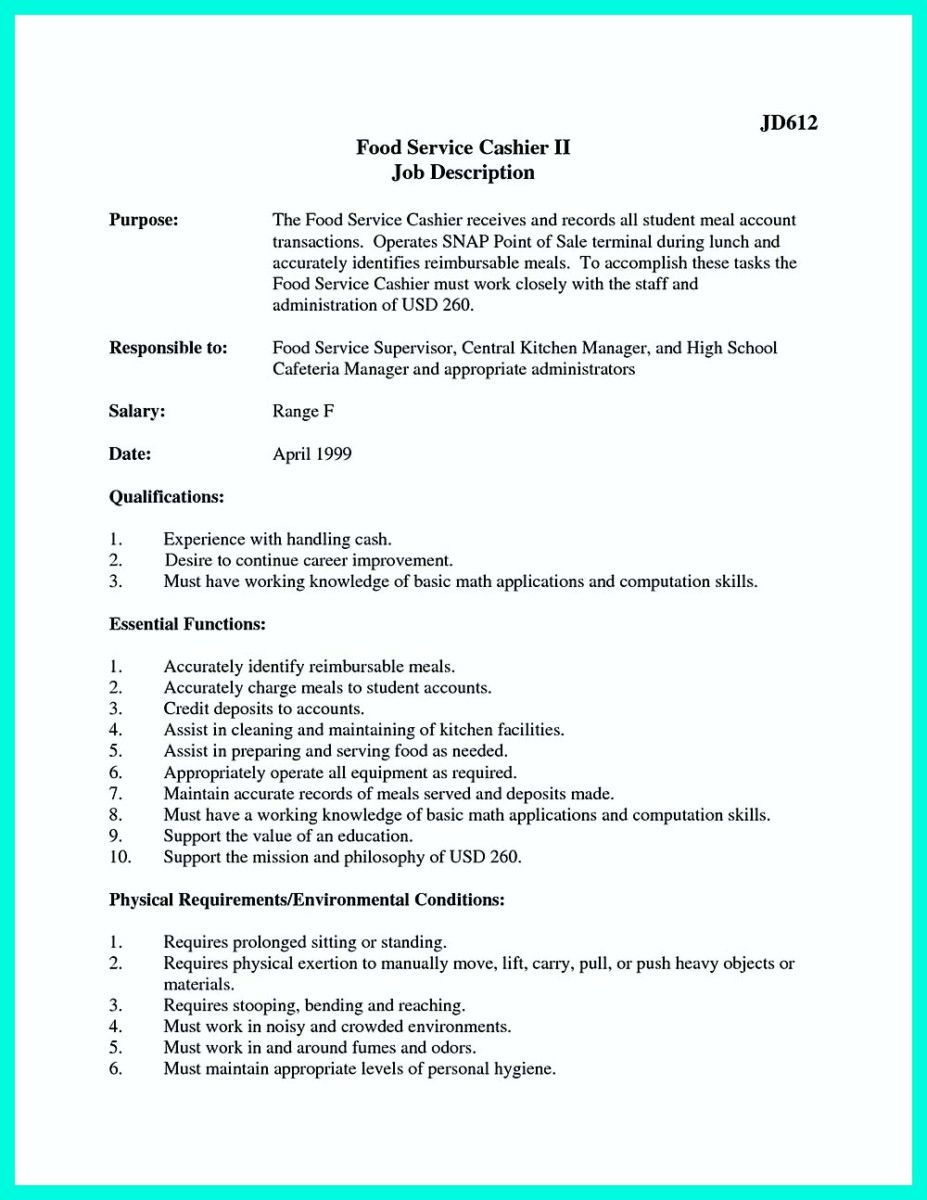 head cashier resumes resume example cover format download pdf | Home ...