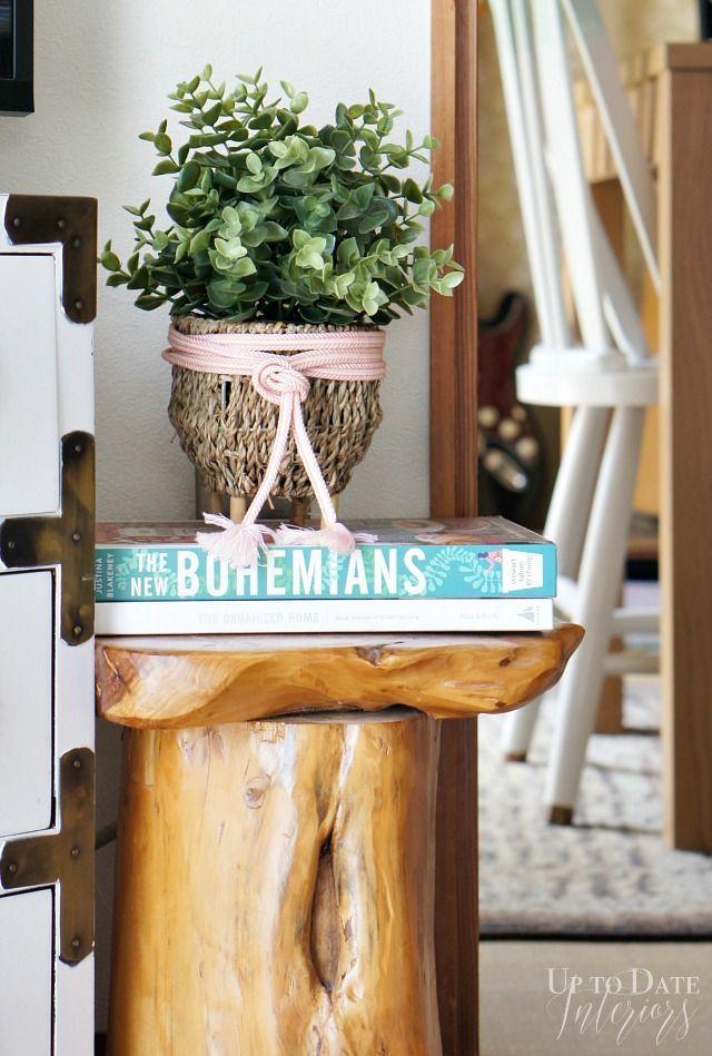 Update a plain baster with decorative trim for quick makeover with global style!   #dollarstorediy #springdecoridea #decoratingideasonthecheap #globaldecor