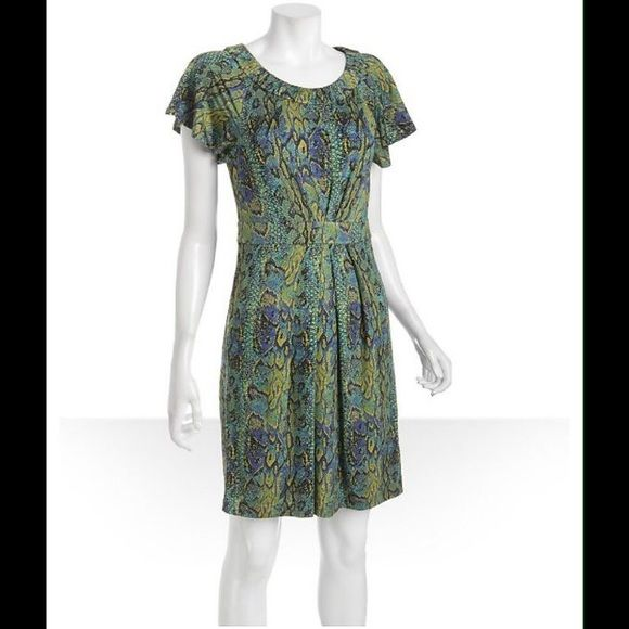 BCBG green snake print flutter sleeve dress Color: Green / Purple / Yellow  Snake printed jersey knit  Ruched banding along neck  Short raglan flutter sleeve  Banded waist  Pleating along center front and back  Dual on-seam pockets  Unlined; slip-on  Size Small  93% Rayon / 7% Spandex;  Hand Wash or Dry Clean;  Imported;  Style# 308342501 BCBGMaxAzria Dresses