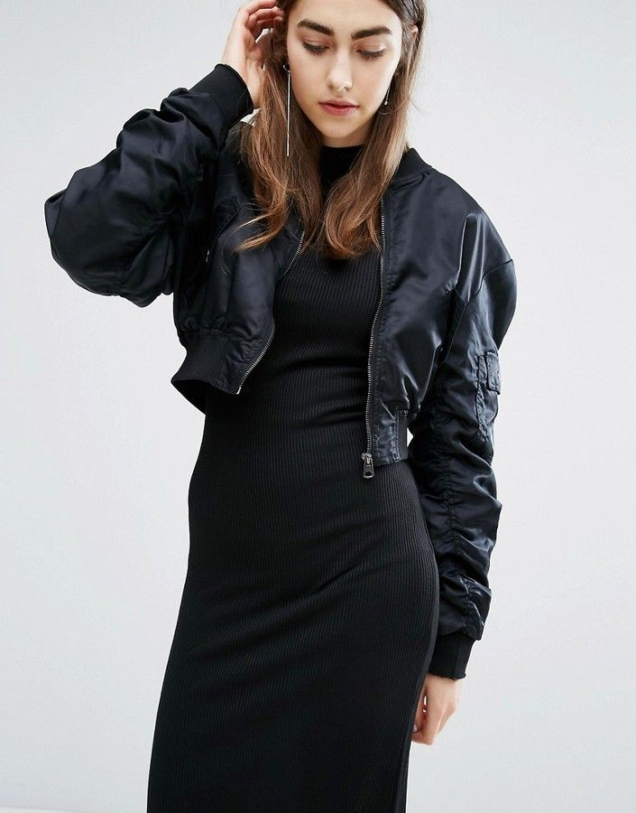 fe5e69a8f Cheap Monday Crop Bomber Jacket | WOMENSWEAR | Black bomber jacket ...