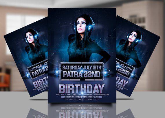 Birthday Invitation Flyer Template , Birthday Party, dj party