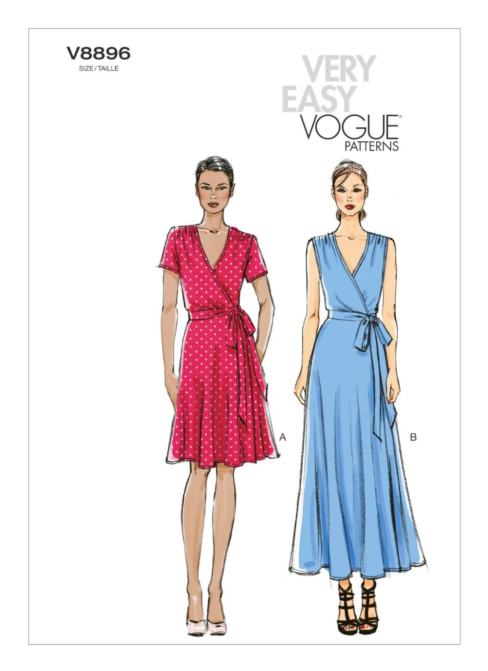 V8896 Wrap Dress Sewing Patterns Vogue Dress Patterns Vogue Patterns [ 1375 x 1000 Pixel ]