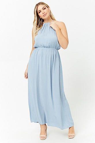 7946f4e82d8d Plus Size High-Neck Maxi Dress