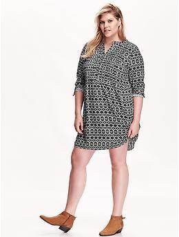 Women's Plus Patterned Split-Neck Dress   Old Navy
