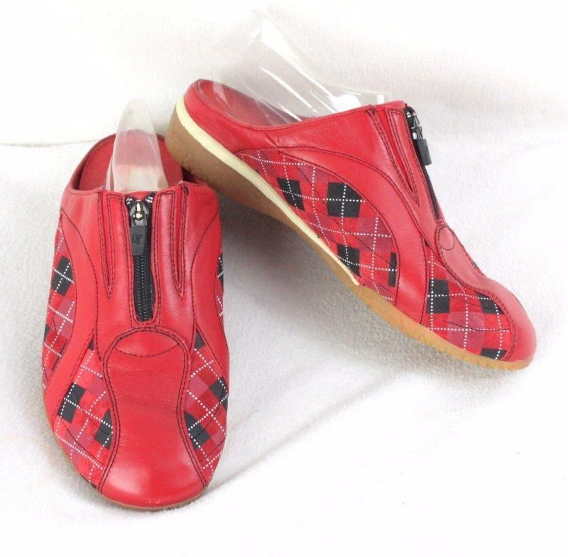 Donald Pliner 10 size Red Black Check Slip on Womens Mules Sport i Que Casual #DonaldJPliner #LoafersMoccasins #Casual